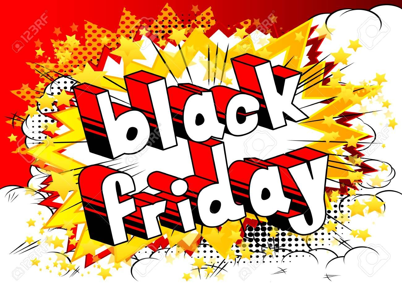 Black Friday - Comic book style word on abstract background. Illustration ,