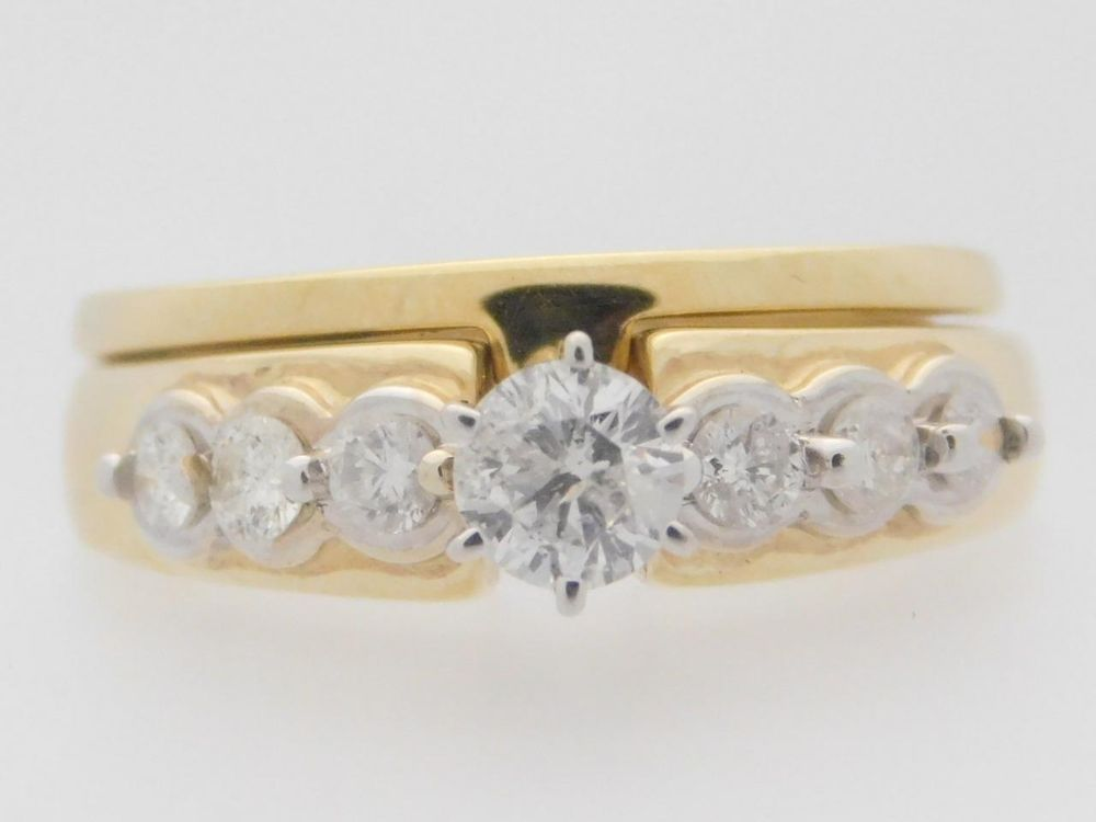 0.84 CARAT T.W. LADIES ROUND CUT DIAMOND WEDDING SET 14K YELLOW GOLD RING #26348 #SolitairewithAccents