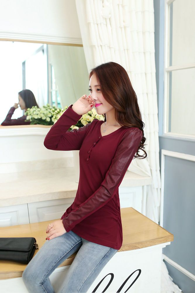 Women Fashion PU Leather Patchwork Long Sleeve V-Neck Plus Velvet Blouses Tops  #New #Fashion #Casual