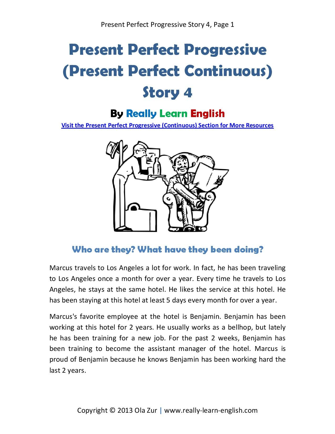 Look Printable Story And Worksheet To Practice The English Present Perfect Progressive