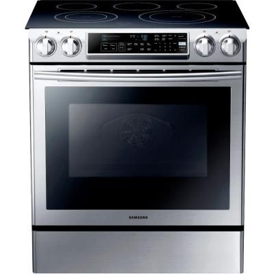 Samsung 5 8 Cu Ft Slide In Electric Range With Self Cleaning Dual Convection Oven In Stainless Steel Ne58f9500ss The Home Depot Slide In Range Double Oven Electric Range Convection Range