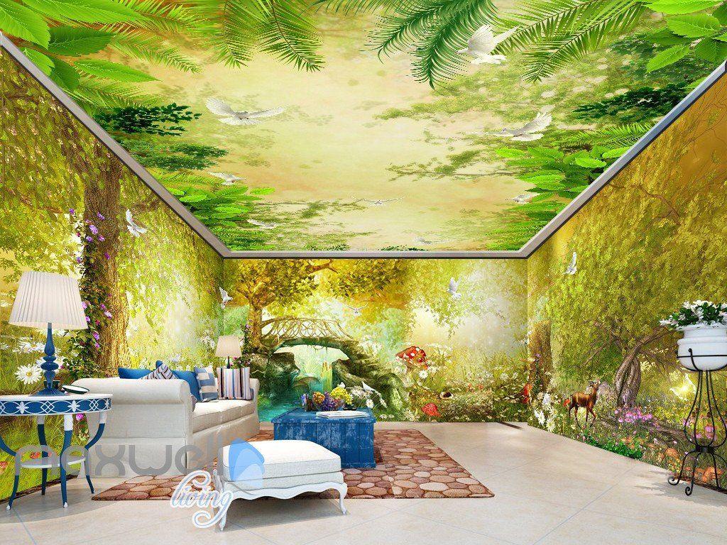 3D Vintage Fairy Garden Wall Murals Wallpaper Decals Art Print Decor ...