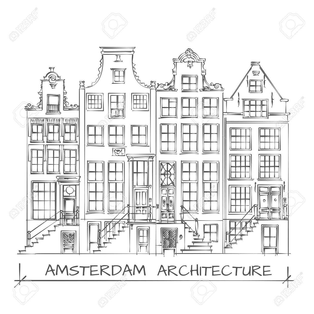 Hand Getrokken Detail Amsterdam Architecture Tekening Zwart Op Wit Architectuur Tekening Tekening Architectuur Stadstekening