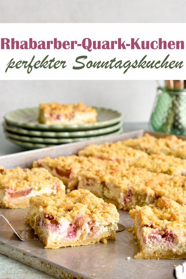 Rhabarber-Quark-Streuselkuchen. Perfekter Sonntagskuchen.
