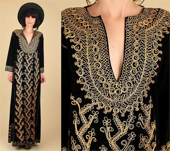 b00c33ddbd2 Vintage 60 s 70 s Velvet Maxi Dress Woodstock Era Gold Embroidered Black  London Mod Rocker Hellohound Vintage