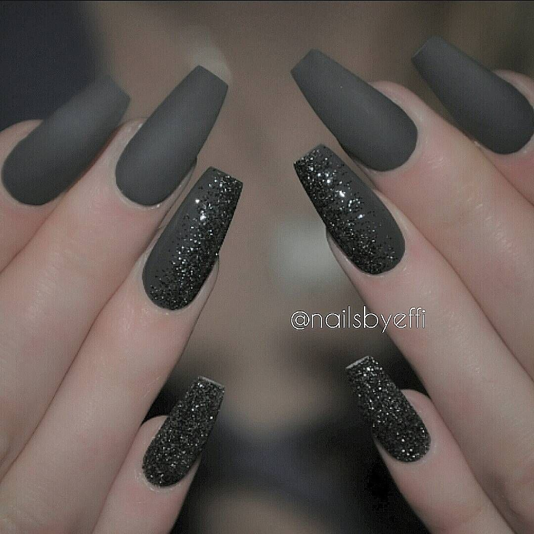 Grey matte with black and silverud hair nails in pinterest
