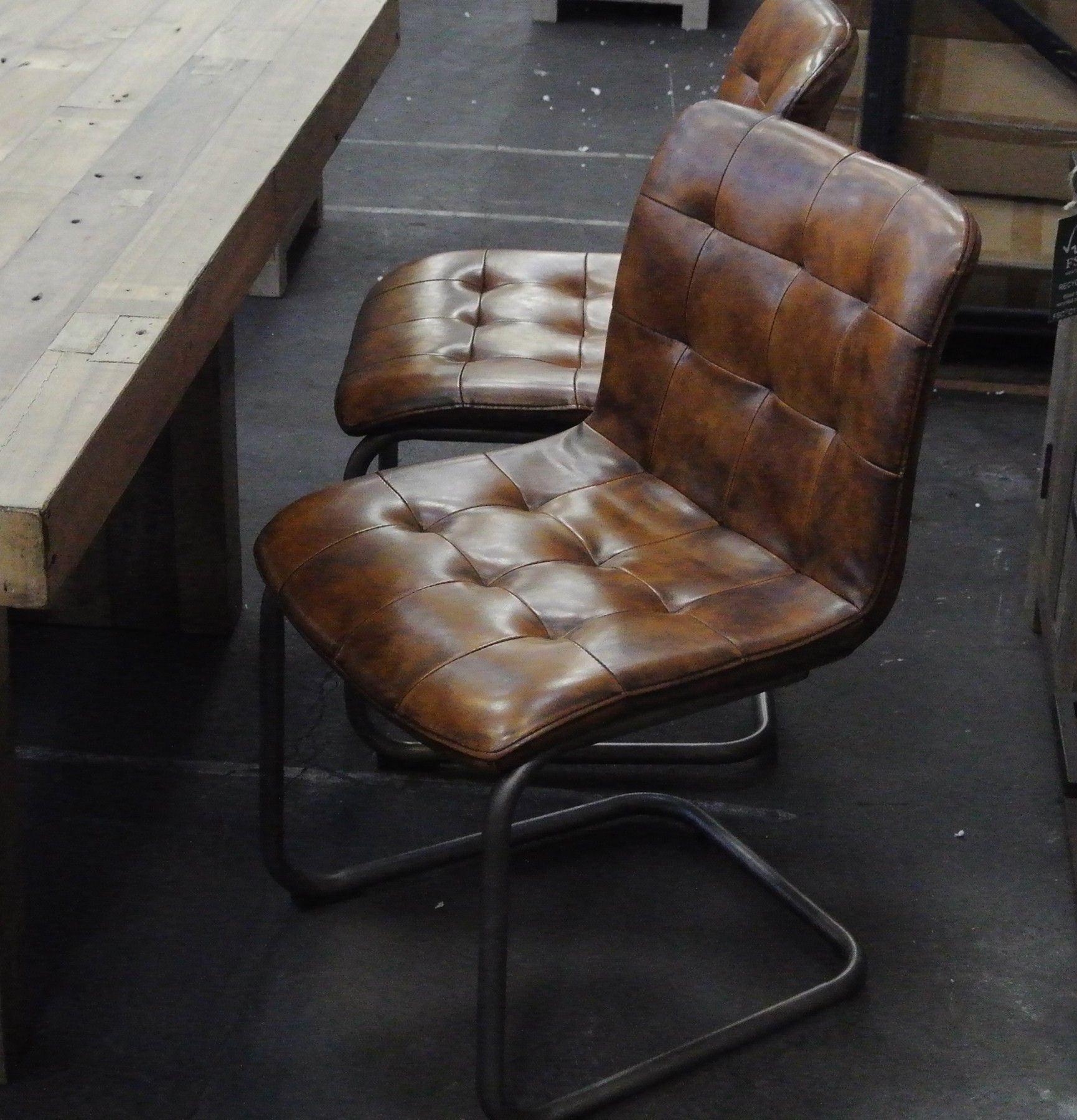 Vintage Button Leather Dining Chair Rustic dining chairs