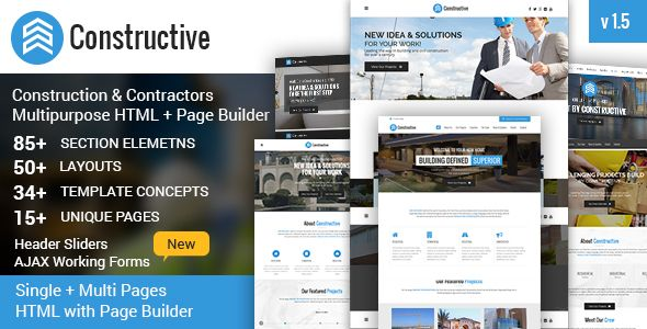 Constructive Contractors Multi Purpose Html With Page Builder Stylelib In 2020 Business Downloads Contractors Free Website Themes