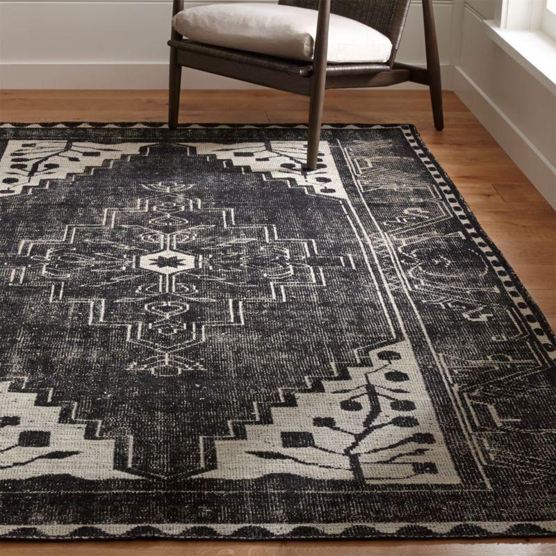 Anice Black Oriental Rug Crate and Barrel Black rug