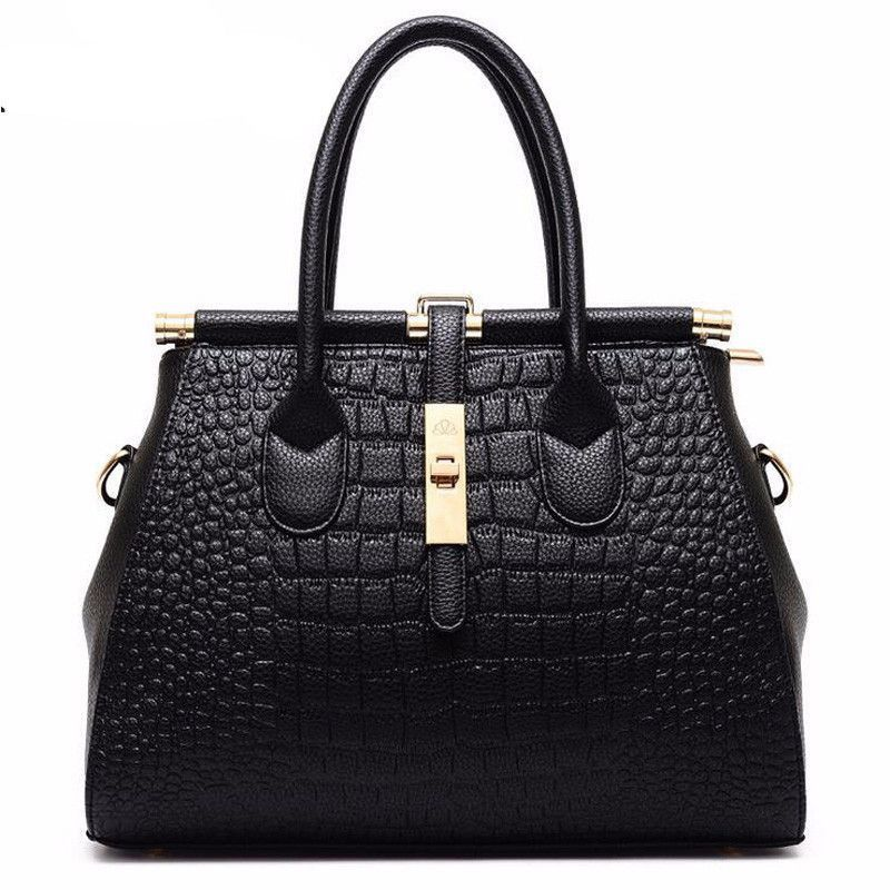 Alligator Women Bag Metal Lock Top-handle Bags Messenger Bags High Quality PU  Leather Handbags d1ffe9f32b368