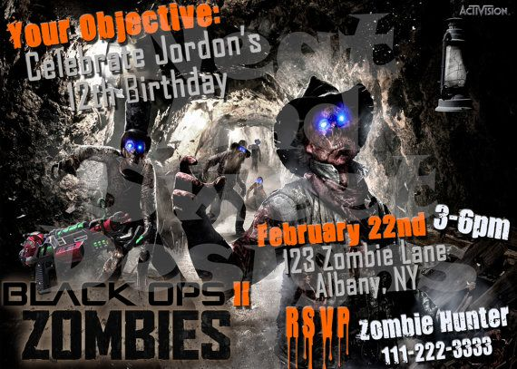 Printable 5 x 7 call of duty black ops 2 zombies birthday party printable 5 x 7 call of duty black ops 2 zombies birthday party invitation call filmwisefo Image collections