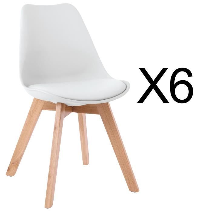 Catherina Lot De 6 Chaises Blanc Scandinave Pieds Bois Chaise Scandinave Chaise Blanche Scandinave Chaise Salle A Manger