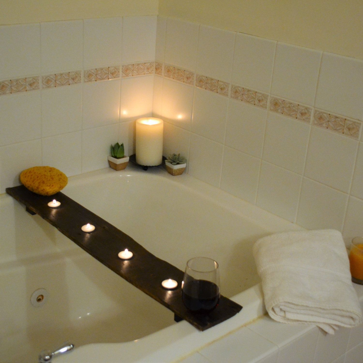 Bathtub Tray with Tealight Candle Holders - Bathing Board to safely ...