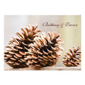 Rustic Country Pine Cones Fall Wedding Invitations #wedding