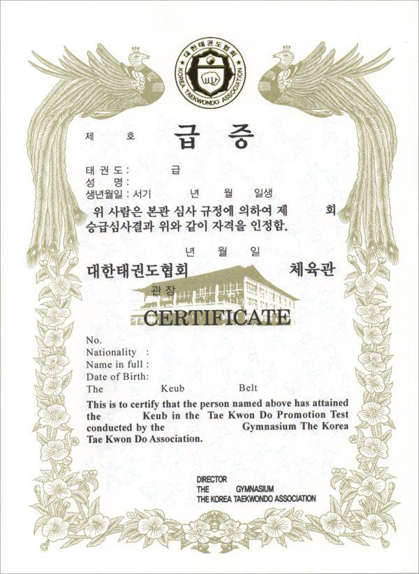 Kta Certificate Of Award 100sheets Eng Kor Taekwondo Kukkiwon Korean