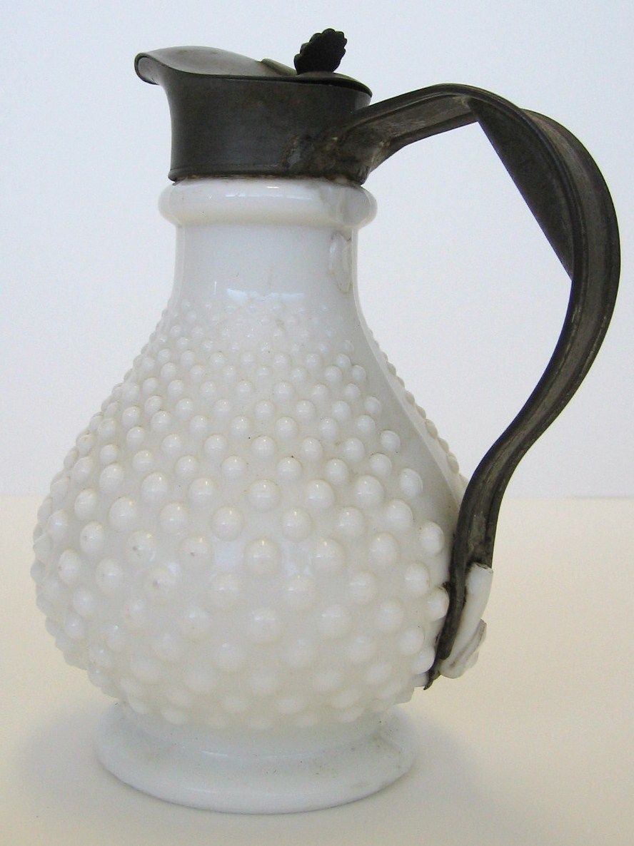 Milk glass (hobnail pattern) syrup pitcher with replaced tin handle ca.1880 - another find at Brimfield 2013