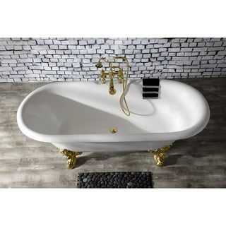 Photo of 72-in Cast Iron Double Ended Clawfoot Tub with 7-in Faucet Drillings (Polished Brass), Gold, Kingston Brass