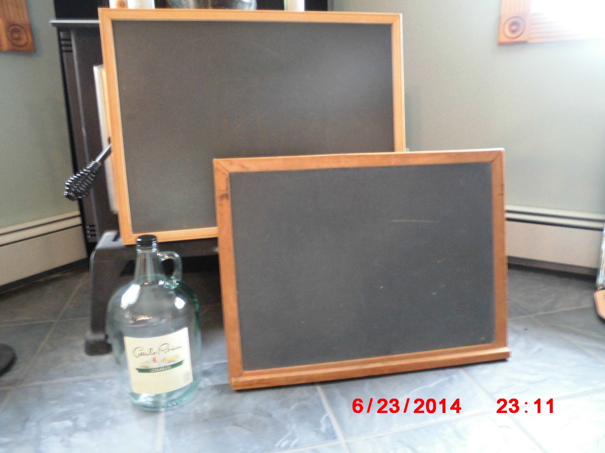 I found both black boards at the same place for a $1.00 each and I am going to paint and decorate the wood around the outside will post later, the cool jug I got for free.