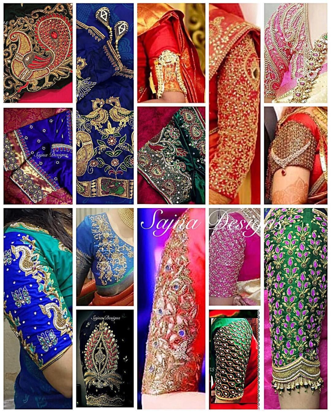 Beautiful bridal designer blouse sleeves with hand embroidery kundan ...