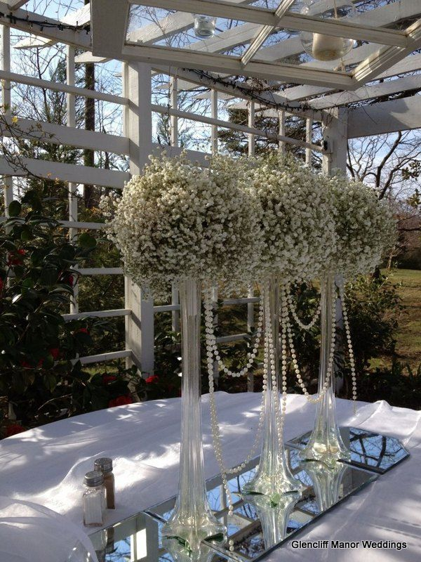 Eiffel Tower Vases With Baby S Breath And Pearls Glencliffmanor Babysbreathcenterpiece