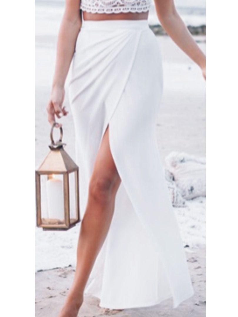 Daylook белый высокая талия щели обернуть макси юбка летний новый ...