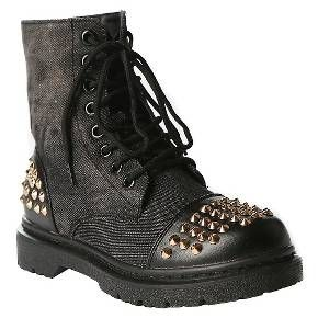 GiaMia Girls' Rock Star Studded Combat Boots Black