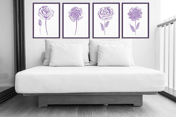Flowers watercolor shabby chic home decor minimalist peony flower
