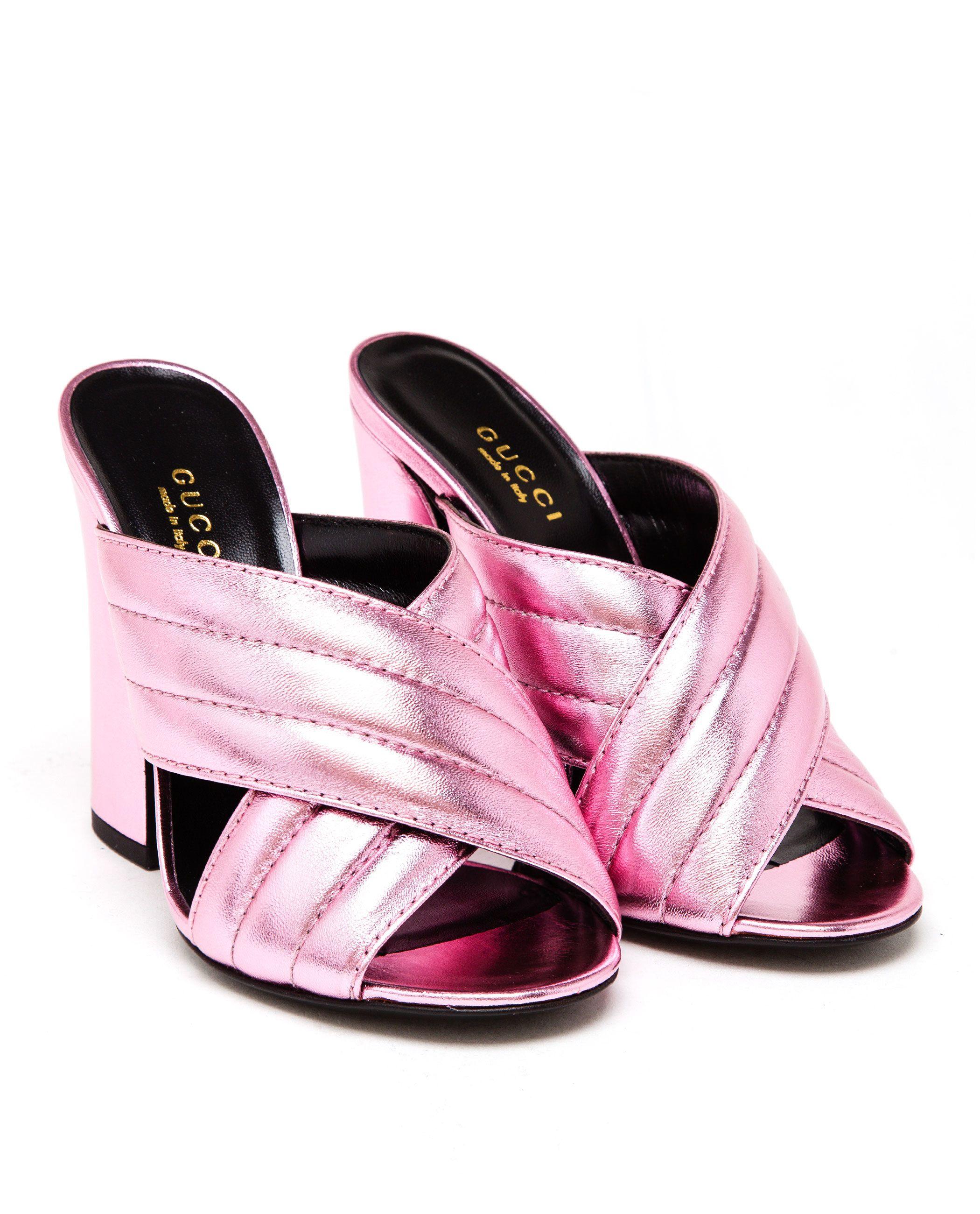 cc4cb14b3 Women s Pink Padded Metallic Leather Mules