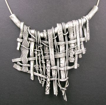 Necklace |  Hadar Jacobson (Lovely)- the weaving idea could be fun as vessel in clay...