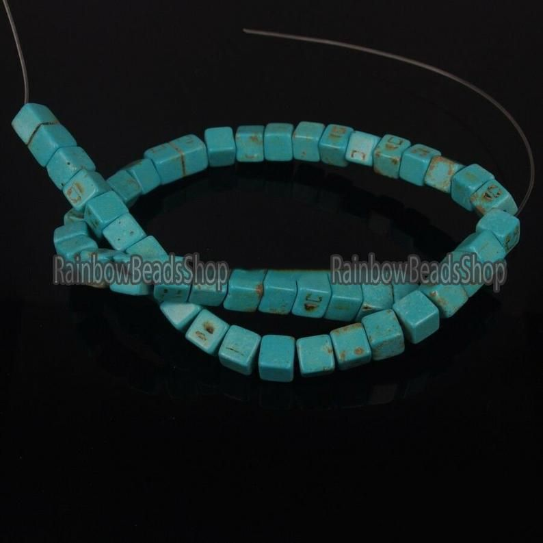 Faceted Africa Turquoise 4-4.5mm Cube Cut Natural Loose Gemstone Beads 15 inch Jewelry Bracelet Necklace Material Supply Wholesale