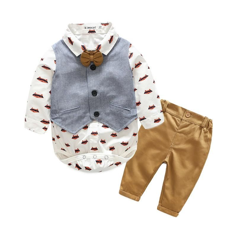 Newborn Cute Baby Boy Long Sleeve Romper Top Jumpsuit Pants 2PC//Set Clothes Nice