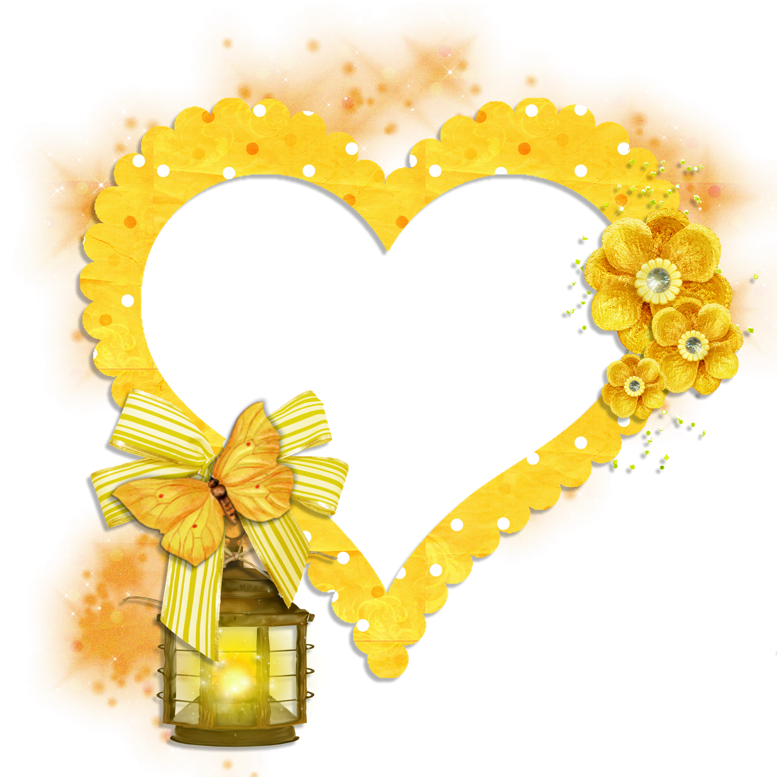 transparent frame yellow heart with butterfly flowers and lamp