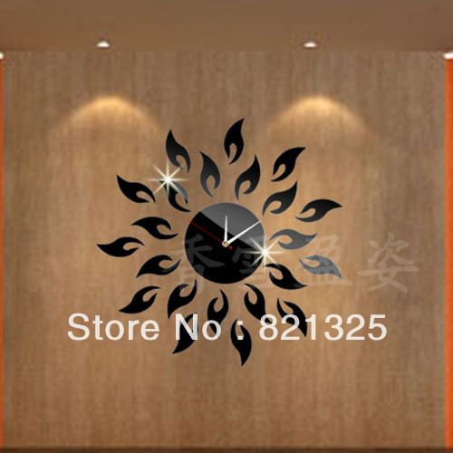 3D Mirror Art | 3D DIY Mirror Wall Clocks New Design Sun Shape ...