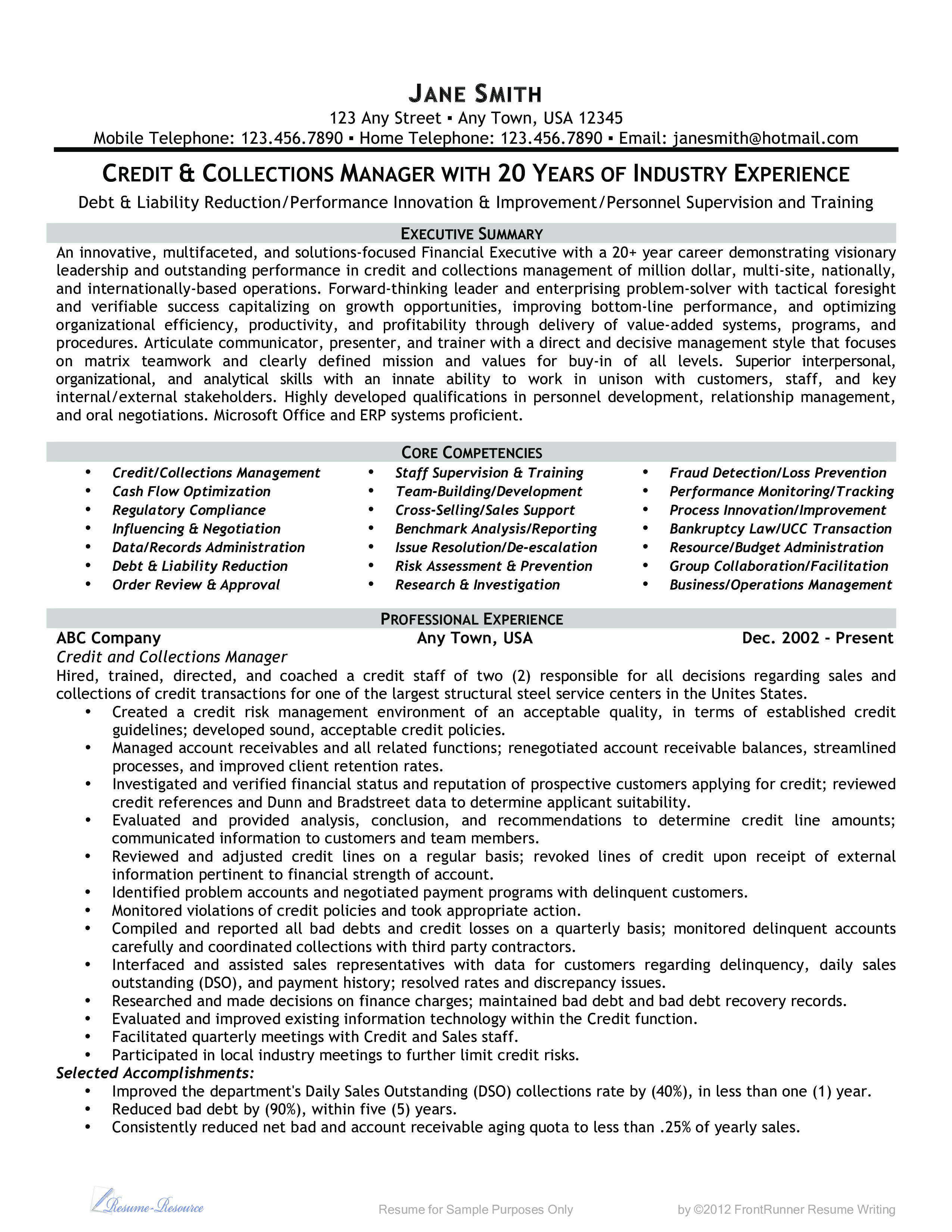 Microsoft Word Credit And Collections Manager Doc Resume Examples Resume Manager Resume