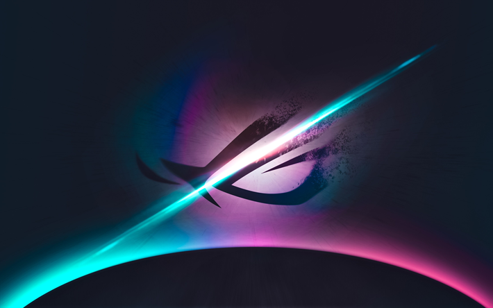 Download wallpapers 4k, Republic of Gamers, art, Asus, logo, abstract  background