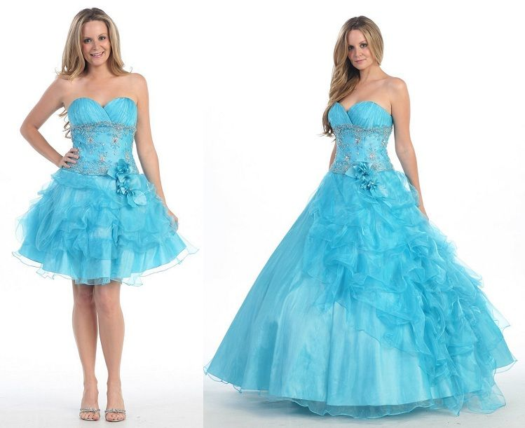 a59a08d37dd exciting 2 in 1 long poofy ball gowns and short prom dresses ...