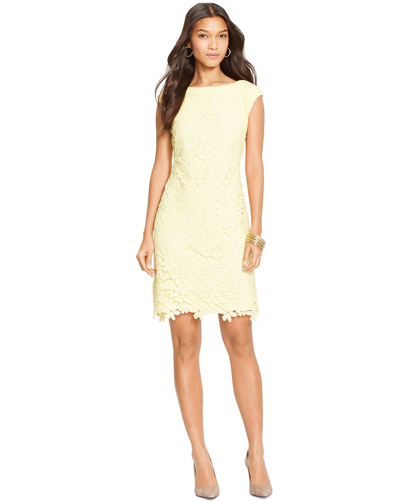 290cf809832 Lauren Ralph Lauren Lace Cap-Sleeve Dress - Dresses - Women - Macy s ...
