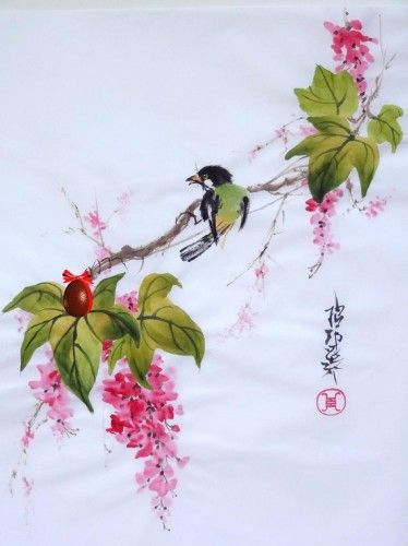 Aquarelle Papier De Riz Chine Peinture Chinoise Abby Oiseau Fleur