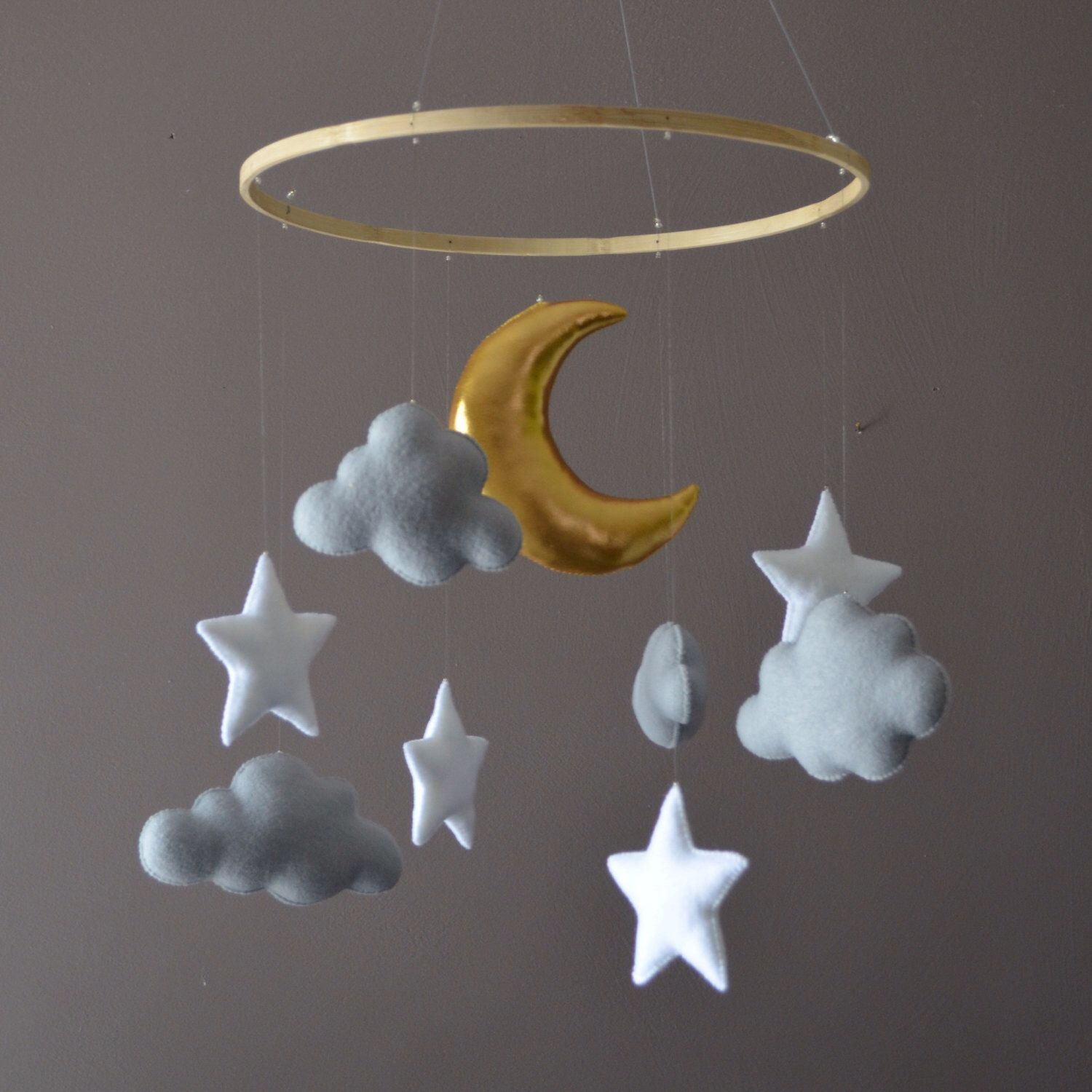 Felt nursery mobile with clouds stars and moon   Stars and ...