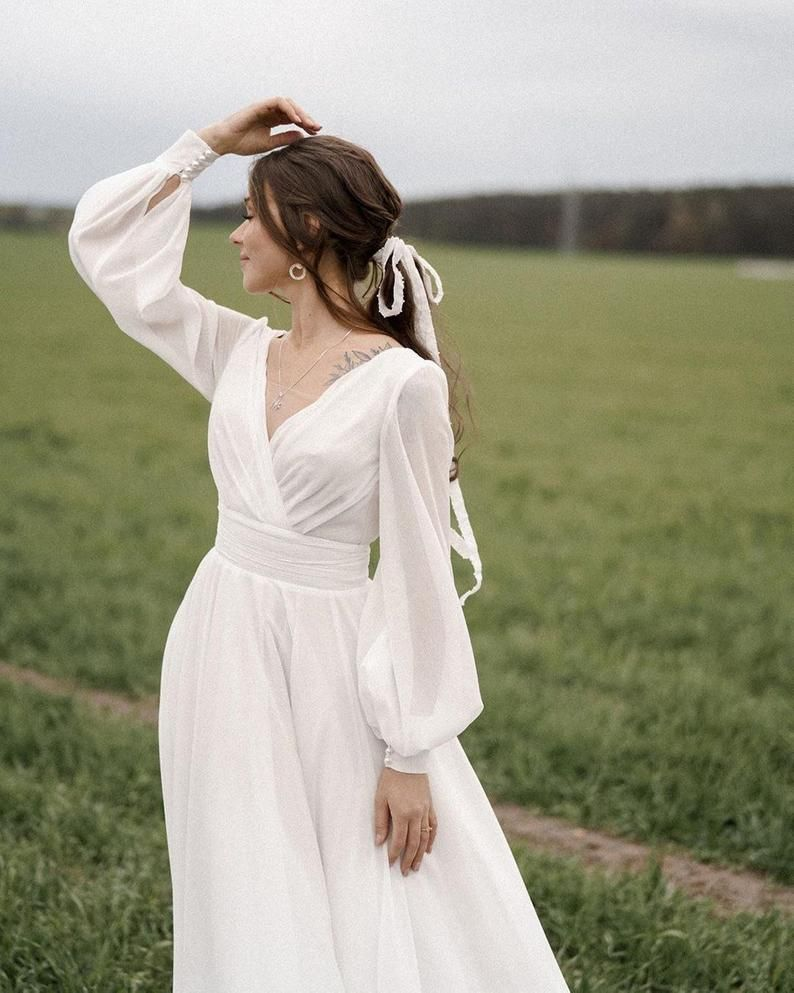 Midi A Line Open Back Chiffon Wedding Dress Paulina With Long Sleeves By Ange Etoiles Midi Wedding Dress Wedding Dresses Dresses [ 993 x 794 Pixel ]