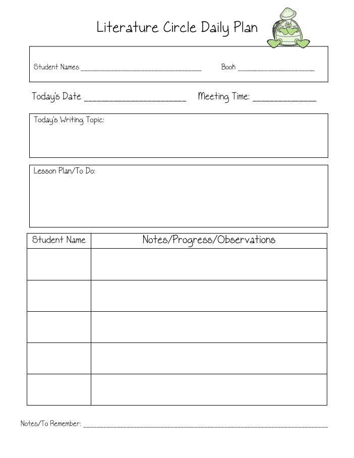 Literature Circle Daily Plan pdf   Teaching   Literature