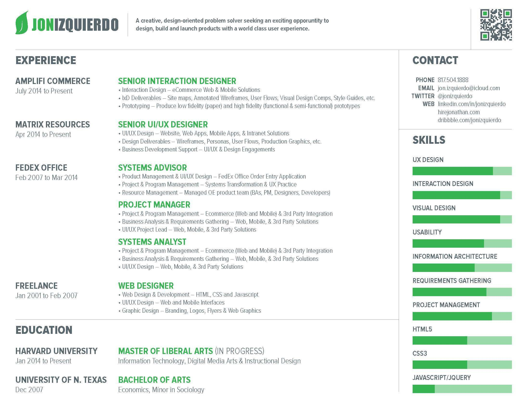 ux designer resume how to make your resume stand out jon izquierdo