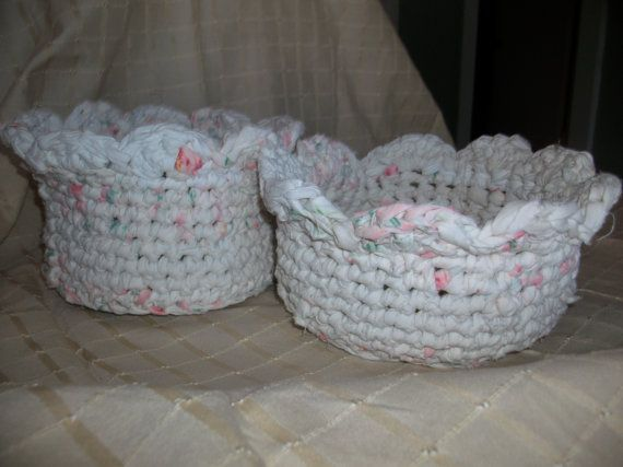 Crocheted Rag Rug Baskets by CreateVintageUpcycle on Etsy