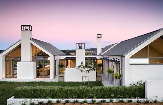 Single storey black white house whitford house by - Modern gable roof designs ...