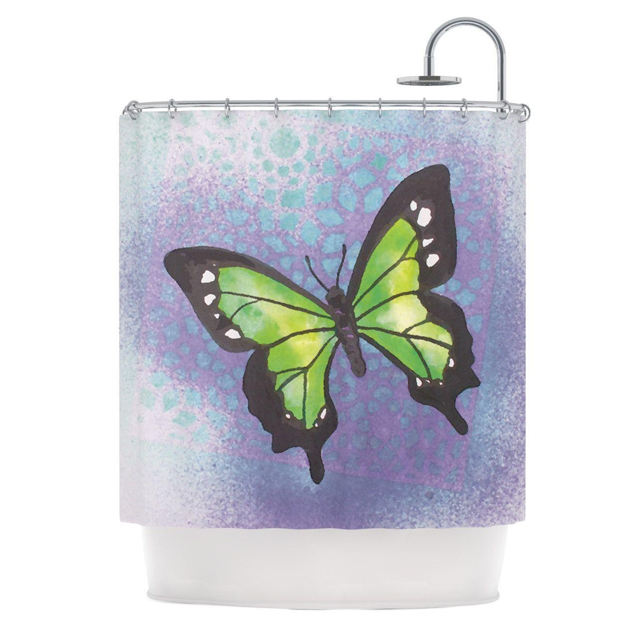 "Padgett Mason ""Lime Green Flutter"" Purple Lavender Shower Curtain"