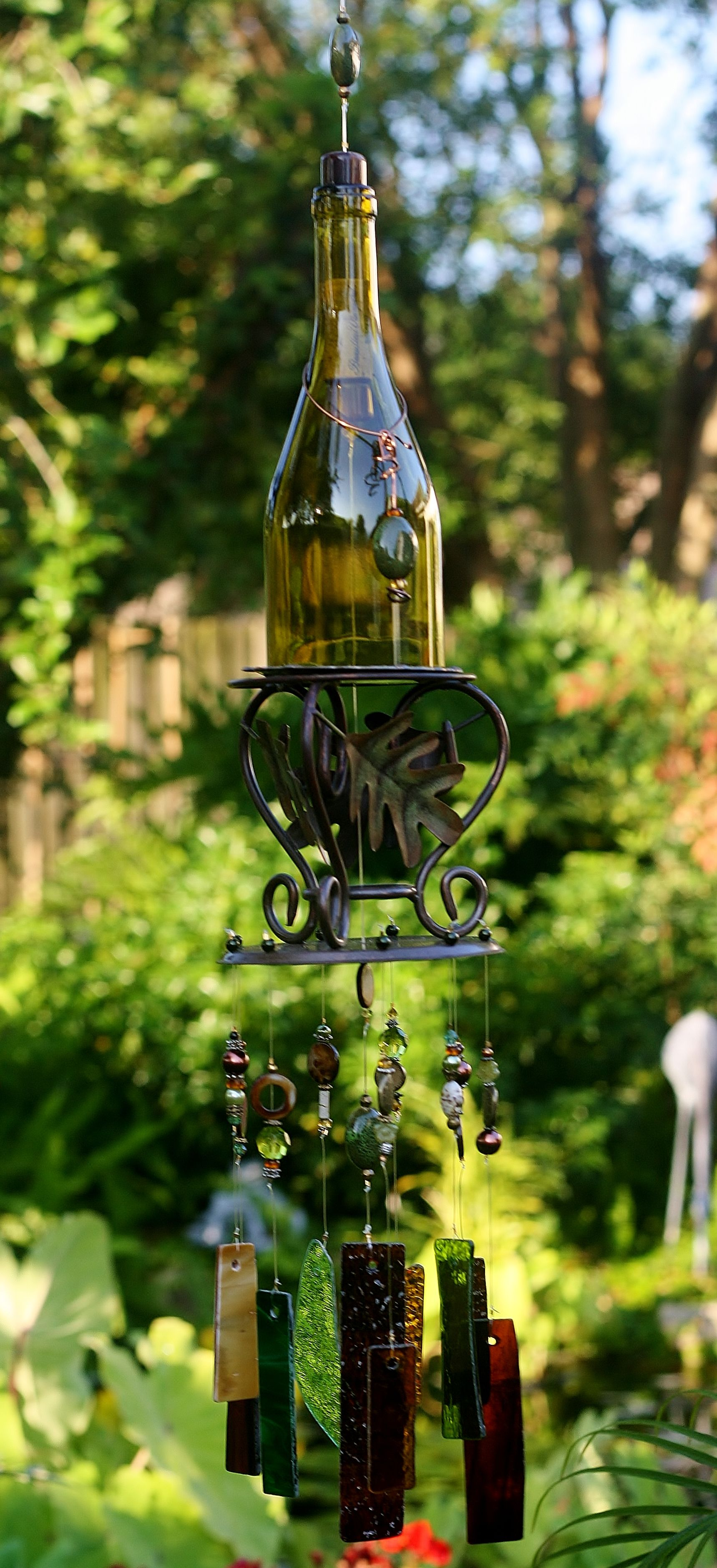 unique ooak wine bottle wind chime from once upon a time. Black Bedroom Furniture Sets. Home Design Ideas