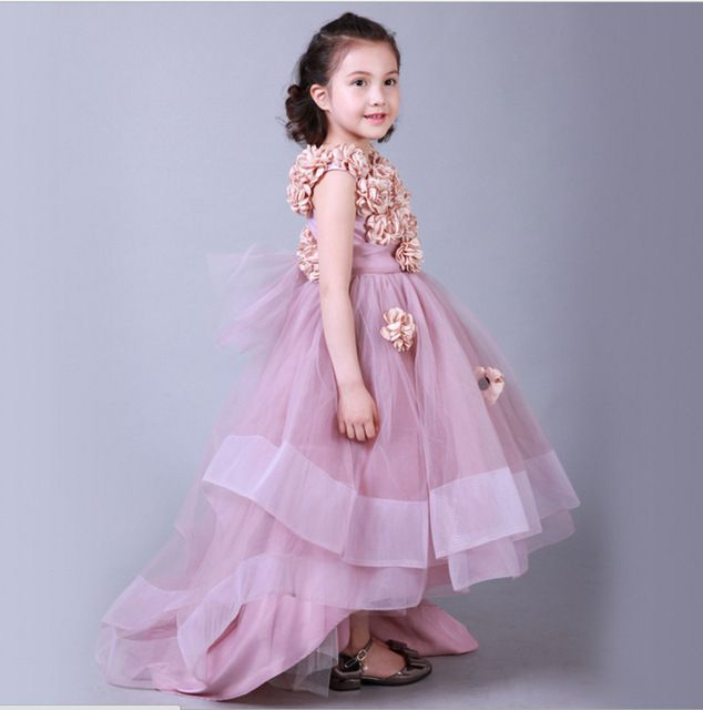 fbaaf7434a8d Dusty Pink Kids Evening Gowns Flowers Girls Dresses Pageant Dresses ...