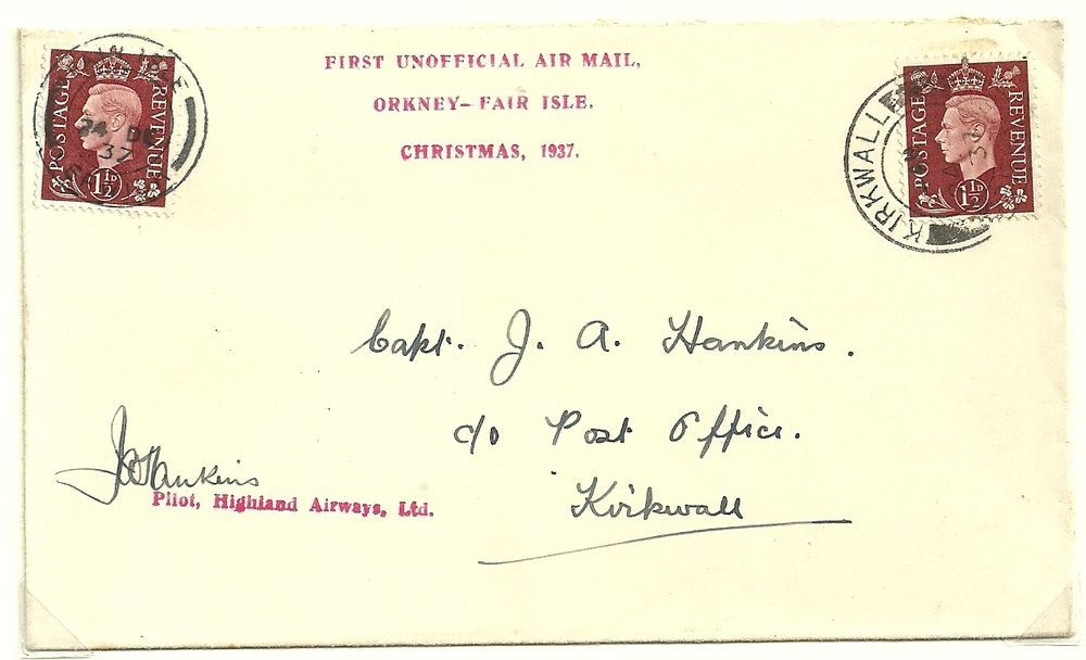 First Flight Cover Kirkwall, Orkney to Fair Isle and return ...