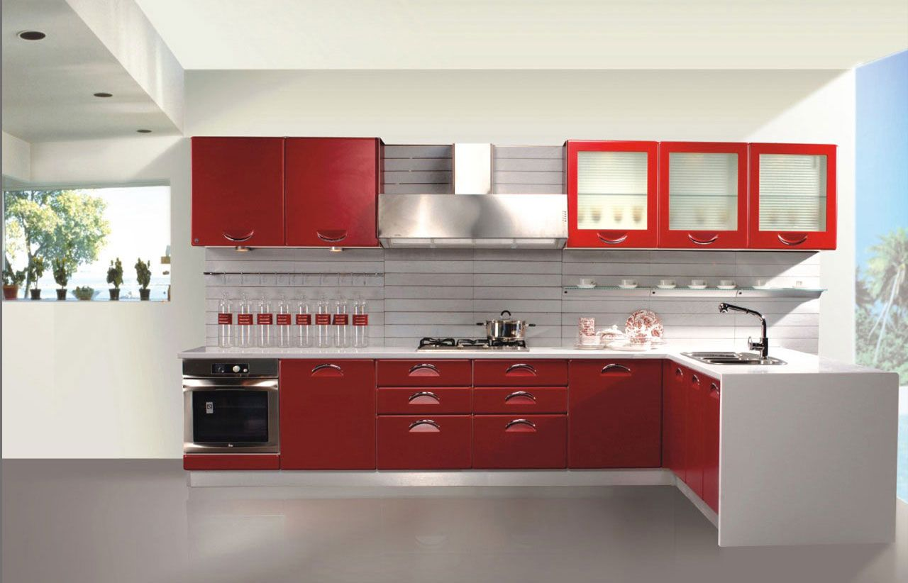 Minimalist kitchen decor with huge glass windows and awesome red wooden cabinet set with shelves feat storage drawers doors and canter black stove feat