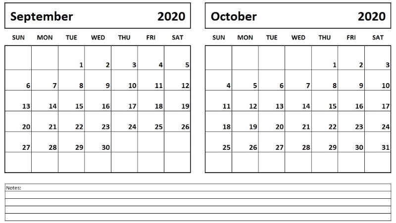 2020 September October Calendar September calendar